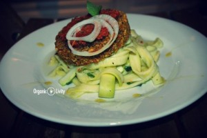 Organic Raw Courgette Tagliatelle and Burger with Ketchup